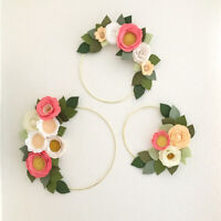 Fashion Gold Iron Metal Ring Wreath Garland DIY Bouquet Flower Wedding Decor