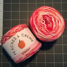 #24 Lot of 2 Peaches n Cream Yarn 190 yds 4 oz Total 100% Cotton Energetic Pink