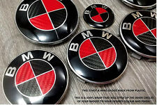 RED & BLACK CARBON FIBER BMW Badge Emblem Overlay HOOD TRUNK RIMS @FITS ALL BMW@