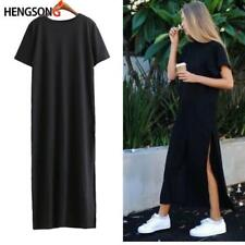 Women High Side Double Slit Splits Long Maxi T Shirt Party Dress Blouse Top N7