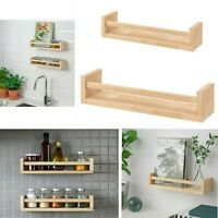 Wall Mounted Floating Wood Shelves Spice Jar Rack Holder Bookcase Storage Unit