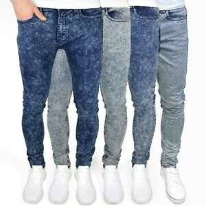 "Soulstar Mens Skinny Stretch Marble Wash Jeans, 28"" - 38"" Waist, BNWT"