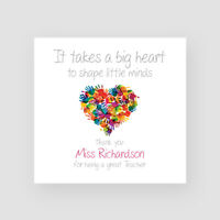 Personalised Handmade Teacher Heart Thank You Card - Mr, Mrs, Miss, School