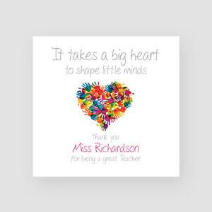Personalised Handmade Teacher Heart Thank You Card - Mr, Mrs, Miss, School