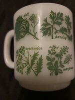 Glasbake Cups Coffee Mug Milk Glass White Green Herbs Retro