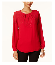 NEW Women's Charter Club Studded Blouse Bright Red Size Small