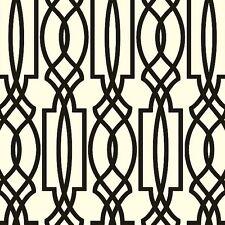 Wallpaper Designer Black on Off White Imperial Trellis Geometric Lattice