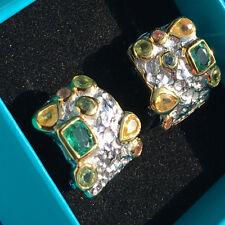 EDELSTEIN Ohrstecker natürliche Smaragde Saphire Silber vergoldet rhodiniert