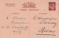 Y293 Carte Postale ENTIER POSTAL  Ecrite 0,90 IRIS oblitération de VICHY en 1941