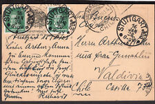 2397 GERMANY TO CHILE POSTCARD 1938 STUTTGART - VALDIVIA