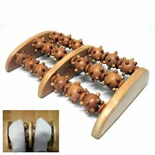 New 3 Rows Natural Wood Foot Massage Needling Roller Reflexology Relax Relief