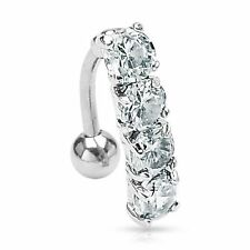 Clear CZ Crystal Top Down Cascade 4 Gem Belly Navel Ring Body Jewelry