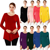 Fashion Womens Long Sleeve T Shirt Ladies Solid Loose Casual Blouse Tops S-3XL