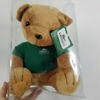 Lacoste promotional teddy bear plush encased green t shirt collectible nwt