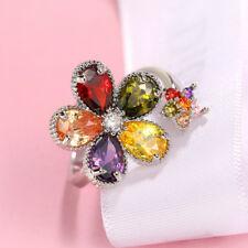 5 Multi Color Natural Citrine Amethyst Garnet Morgantie Silver Adjustable Ring