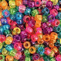 100 Transparent Glitter MIX PONY BEADS DUMMY CLIPS, PRAM CHARMS