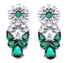 GREEN CLEAR WHITE FLORAL Crystal Rhinestone Silver Flower Chandelier Earrings