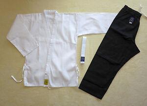 Karateanzug weiß/schwarz  Gr. wählbar mit Weißgurt, Mod. 9
