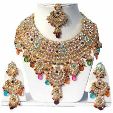 Gold Plated Jodha's Kundan Zerconic Bollywood Necklace Set Jewelry ES7