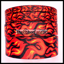 """3yds Fire and Flames Vertical 5/8 4 Sizes """" 7/8"""" 1.5"""" 2.25"""" Grosgrain Ribbon"""