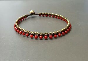Sunday Red Coral Mini Brass Anklet