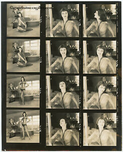 1950s Bunny Yeager Contact Sheet Photograph 12 Frames Brunette Diaphanous Nighty