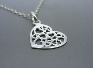 Silver Hearts Necklace - Solid Sterling Silver Cut Out Heart Pendant Charm 925