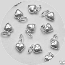 100 pcs Sterling Silver Small Puffed Heart Charms Pendants