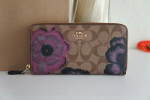 NWT Coach 6657 Accordion Zip Wallet In Signature Canvas With Kaffe Fassett Print