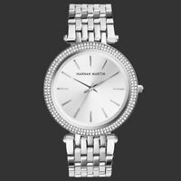 Ladies Quartz Analog Wrist Watch Crystal Silver Dial Stainless Steel Women's