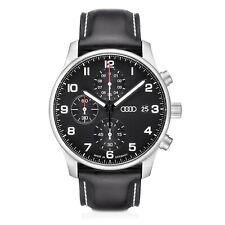 Audi Chronograph Schwarz Silber 3101900200 Leder Armbanduhr Uhr Watch