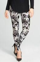 Nordstrom Women's Black Floral Leggings 123631 sz M