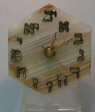 MINERAL CLOCK > HEXAGON HEBREW ONYX CLOCK  > QUARTZ MOVEMENT > ONE OF A KIND .jj