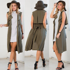 Fashion Ladies Women's Sleeveless Long Waistcoat Blazer Jacket Coat Top