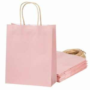 """15-Pack Pastel Pink Paper Gift Party Tote Bags Rope Handle Medium 8"""" x 4"""" x 10"""""""