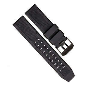 Men Classic Soft Sports Watch Band Black Silicone Rubber Strap For Luminox 23mm