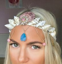 Pink Blue Jewel Wing Charm Mermaid Sea Shell Crown Hair Band Choochie Choo Beach