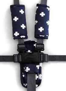 Outlook 3 Piece Harness Cover Set Navy White Crosses Cotton Baby Comfort Cotton