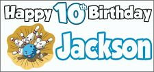 Ten Pin Bowling 10th Birthday Banner x2 Party Decorations Personalised ANY NAME