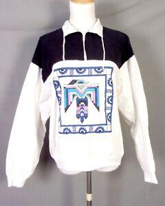 vtg 80s Cotton Fitz Pullover 1/4 zip Arizona Southwest Aztec Shirt Jacket sz M