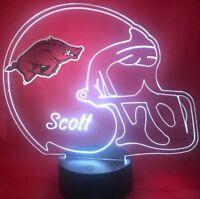 Arkansas Razorbacks NCAA College Football Light Up Lamp LED Personalized, Remote