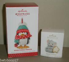 Hallmark Christmas Ornament Club 2013 Wiggly-Giggly Penguin 2012 Sweet Mouse LOT