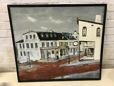 Vintage Helen Hume Signed Painting City Street Intersection Cityscape