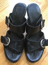 Born Concept Boc Black Heel Leather Slippers Women Size 9 M