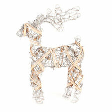 Widdop Gold & White Rattan Reindeer Christmas Ornament Decor