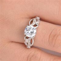 Elegant 925 Silver Jewelry Women's Wedding Rings Round Cut White Sapphire Size6