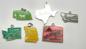 Vintage Sterling/ Other Silver & Enamel U.S. States Charms- Lot Of 6