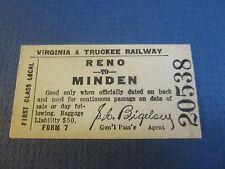 Old VIRGINIA & TRUCKEE Railway Co. Cardboard Train TICKET - Reno to Minden