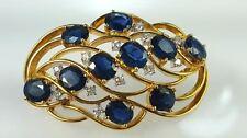 Vintage Sapphire & diamond 14k yellow gold brooch & necklace