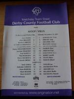 22/12/2001 Colour Teamsheet: Derby County v Aston Villa (Creased, Folded, Worn)